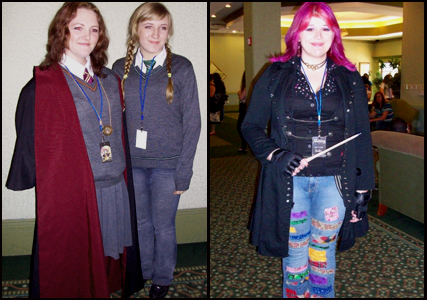 Acciocon Staff as Hermonie, Luna Lovegood, and Tonks.