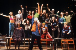 The original cast of RENT performs La Vie Boheme B.