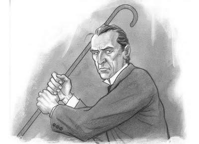 Sherlock Holmes demonstrating self-defense through stick fighting.