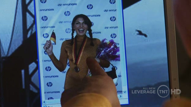 Ute Ausgartner, luge champion, is not happy about Hardison's hacking of her picture