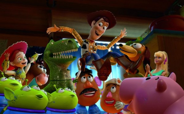 Woody, being raised by his friends Jessie, Bullseye, Rex, the Potato Heads and kids, Hamm, Slinky Dog, and Barbie