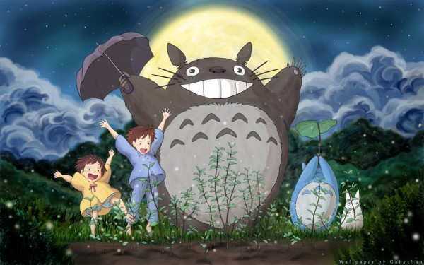 Totoro and friends enjoy the night air in the movie 'My Neighbour Totoro.'