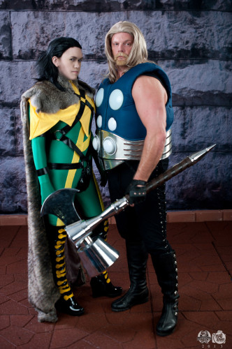 Kristen Collins and Chad Kneedler as Ultimates Loki and Thor (Photo: Bryan Humphrey)