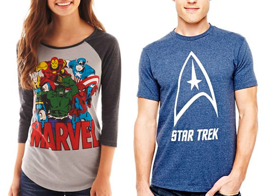 Geek culture is now part of mainstream culture. (Tees from JCPenney)