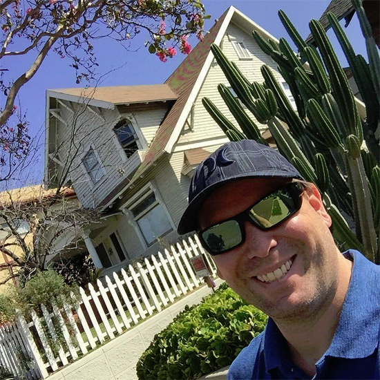Tom outside the Torreto house during a recent trip to LA